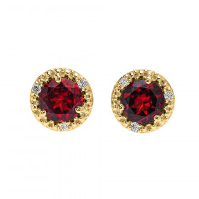 1.8ct Garnet and Diamond Halo Stud Earrings in 9ct Gold