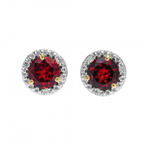 1.8ct Garnet and Diamond Halo Stud Earrings in 9ct Two-Tone Gold