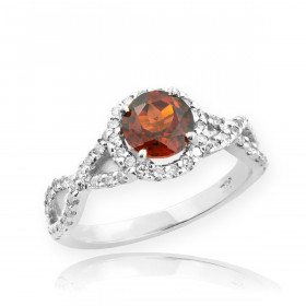 0.6ct Garnet and Diamond Infinity Ring in 9ct White Gold