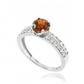 0.24ct Garnet and Diamond Pave Engagement Ring in 9ct White Gold