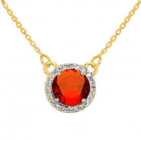 1.0ct Garnet and Diamond Pendant Necklace in 9ct Gold