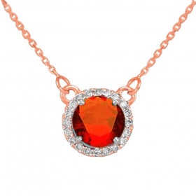 1.0ct Garnet and Diamond Pendant Necklace in 9ct Rose Gold
