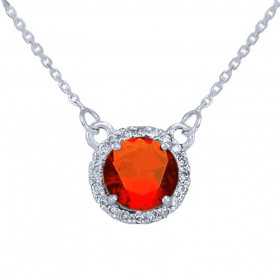 1.0ct Garnet and Diamond Pendant Necklace in 9ct White Gold