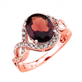 3.49ct Garnet and Diamond Ring in 9ct Rose Gold