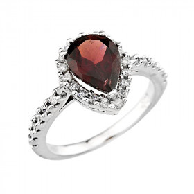 2.04ct Garnet and Diamond Ring in 9ct White Gold
