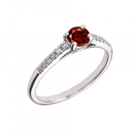 0.5ct Garnet and Diamond Solitaire Engagement Ring in 9ct White Gold