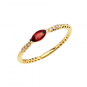 0.18ct Garnet and Diamond Stackable Beaded Ring in 9ct Gold