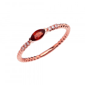 0.18ct Garnet and Diamond Stackable Beaded Ring in 9ct Rose Gold