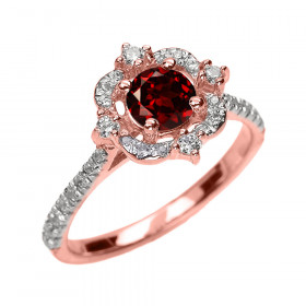 0.62ct Garnet and Diamond Vintage Engagement Ring in 9ct Rose Gold