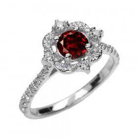 0.62ct Garnet and Diamond Vintage Engagement Ring in 9ct White Gold