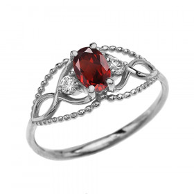0.25ct Garnet Elegant Beaded Twisted Rope Ring in 9ct White Gold