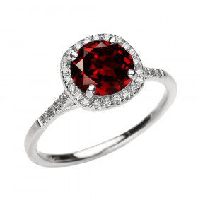 1.53ct Garnet Halo Engagement Ring in 9ct White Gold