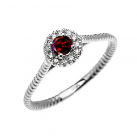 0.08ct Garnet Halo Rope Promise Twisted Rope Ring in 9ct White Gold