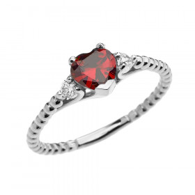 0.6ct Garnet Heart Beaded Band Promise Ring in 9ct White Gold