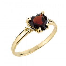 Garnet Heart Shaped Ring in 9ct Gold
