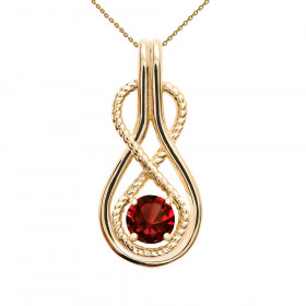 0.22ct Garnet Infinity Rope Pendant Necklace in 9ct Gold