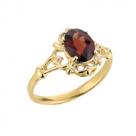 Garnet Oval Ring in 9ct Gold