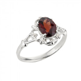 Garnet Oval Ring in 9ct White Gold