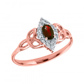 0.2ct Garnet Oval Trinity Knot Halo Ring in 9ct Rose Gold