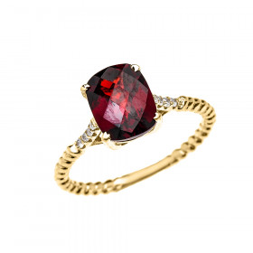 2.0ct Garnet Rope Design Twisted Rope Ring in 9ct Gold