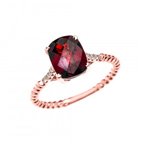 2.0ct Garnet Rope Design Twisted Rope Ring in 9ct Rose Gold