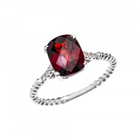 2.0ct Garnet Rope Design Twisted Rope Ring in 9ct White Gold