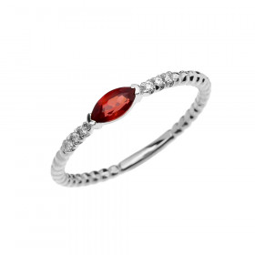 0.18ct Garnet Stackable Beaded Twisted Rope Ring in 9ct White Gold