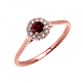 0.08ct Garnet Stackable Halo Rope Promise Twisted Rope Ring in 9ct Rose Gold
