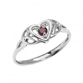0.08ct Garnet Trinity Knot Heart Ring in 9ct White Gold
