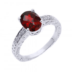 1.0ct Garnet and White Topaz Art Deco Engagement Ring in Sterling Silver