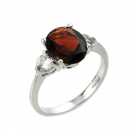 Garnet and White Topaz Ring in Sterling Silver
