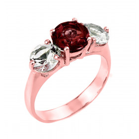 Garnet and White Topaz Three Stone Ring in 9ct Rose Gold