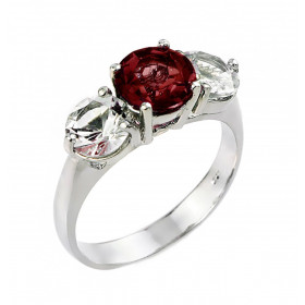 Garnet and White Topaz Three Stone Ring in Sterling Silver