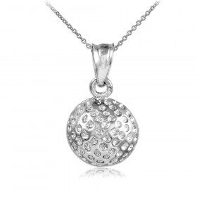 Golf Ball Charm Pendant Necklace in 9ct White Gold