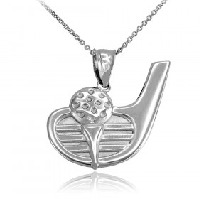 Golf Club Charm Pendant Necklace in 9ct White Gold