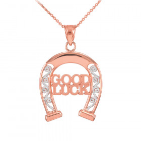 Good Luck Horseshoe Filigree Pendant Necklace in 9ct Two-Tone Gold
