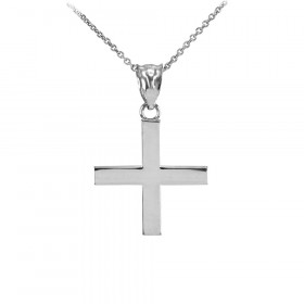 Greek Cross Pendant Necklace in 9ct White Gold