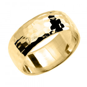 Hammered Comfort Fit Classic Decorative Wedding Ring in 9ct Gold