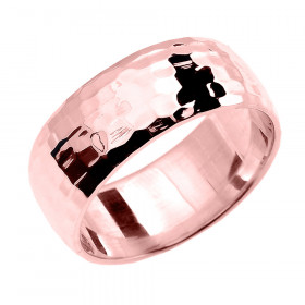 Hammered Comfort Fit Classic Decorative Wedding Ring in 9ct Rose Gold