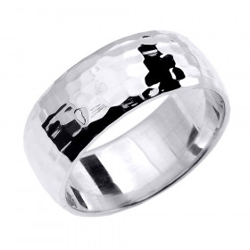 Hammered Comfort Fit Classic Decorative Wedding Ring in 9ct White Gold