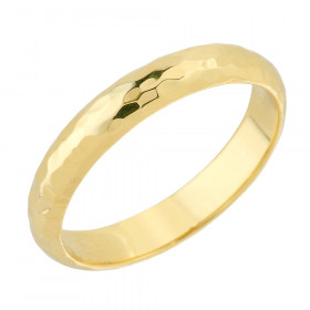 Hammered Decorative Wedding Ring in 9ct Gold