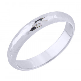 Hammered Decorative Wedding Ring in 9ct White Gold