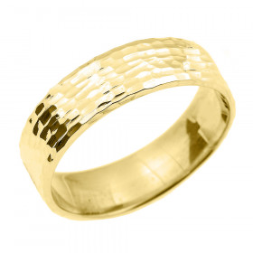 Hammered Unisex Decorative Wedding Ring in 9ct Gold
