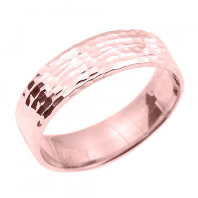 Hammered Unisex Decorative Wedding Ring in 9ct Rose Gold