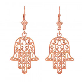 Hamsa Earrings in 9ct Rose Gold