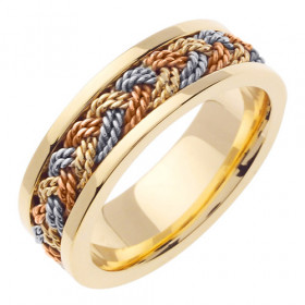 Hand Braided Celtic Wedding Ring in 9ct Three-Tone Gold