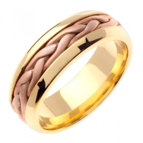 Hand Braided Celtic Wedding Ring in 9ct Two-Tone Gold