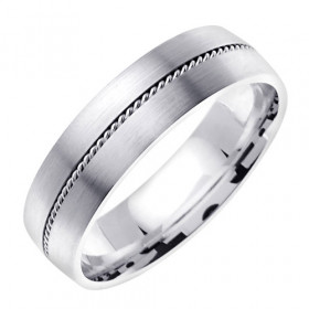 Hand Braided Comfort Fit Milgrain Wedding Ring in 9ct White Gold