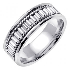 Hand Braided Decorative Wedding Ring in 9ct White Gold