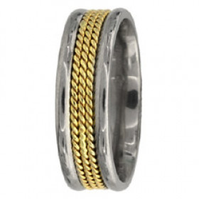 Hand Braided Milgrain Wedding Ring in 9ct Two-Tone Gold